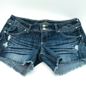 Almost Famous Size 11 Distressed Holes Dark Denim
